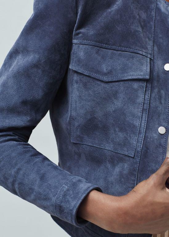 Mango Flap pocket suede jacket leather zara navy blue seed RRP $259