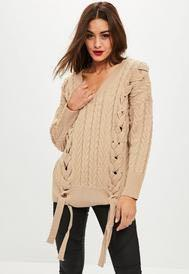 Missguided stone oversized lace up detail sweater knit jumper