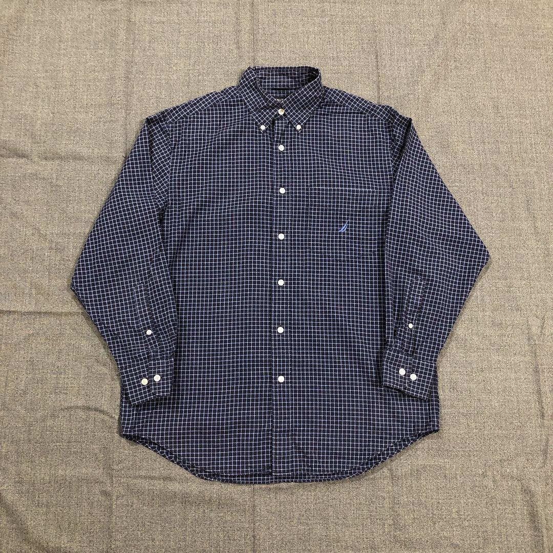 Nautica 古著深藍格紋襯衫(L)