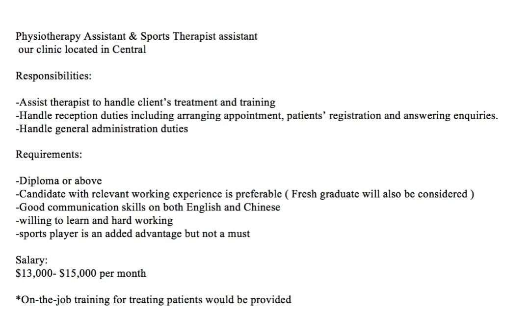Physiotherapy Assistant and Sports Therapist assistant