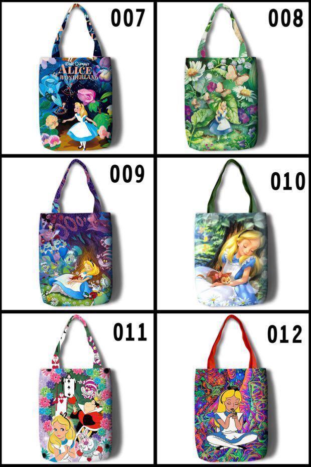 P.O. Little Mermaid Alice in wonderland Disney canvas tote eco bag princess