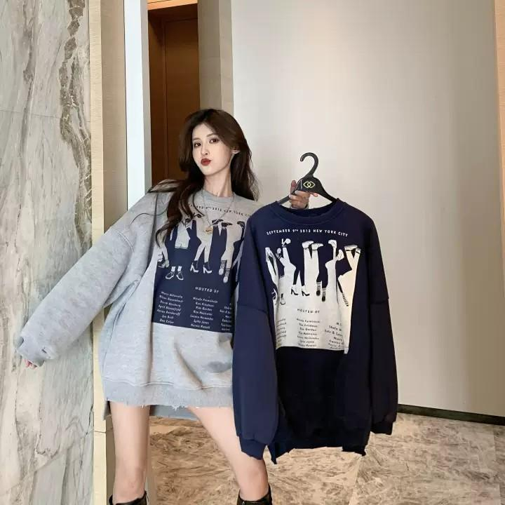 PO Women Leg Feet Illustration Graphic Print Long Sleeve Sweater T-shirt Top Shirt Ulzzang