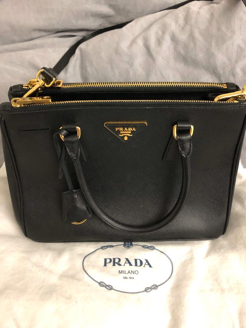 Prada Galleria Small Saffiano Lux Leather Bag Black