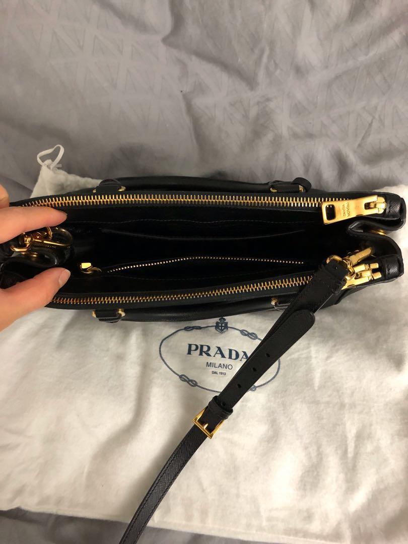 Prada Galleria Small Saffiano Lux Leather Bag Black