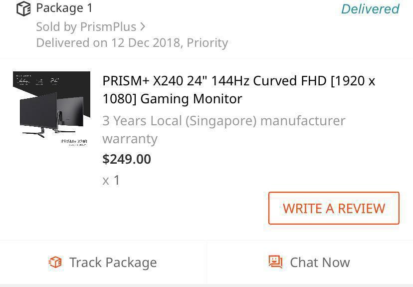 Prism+ X240 144Hz 2Y1M warranty remaining