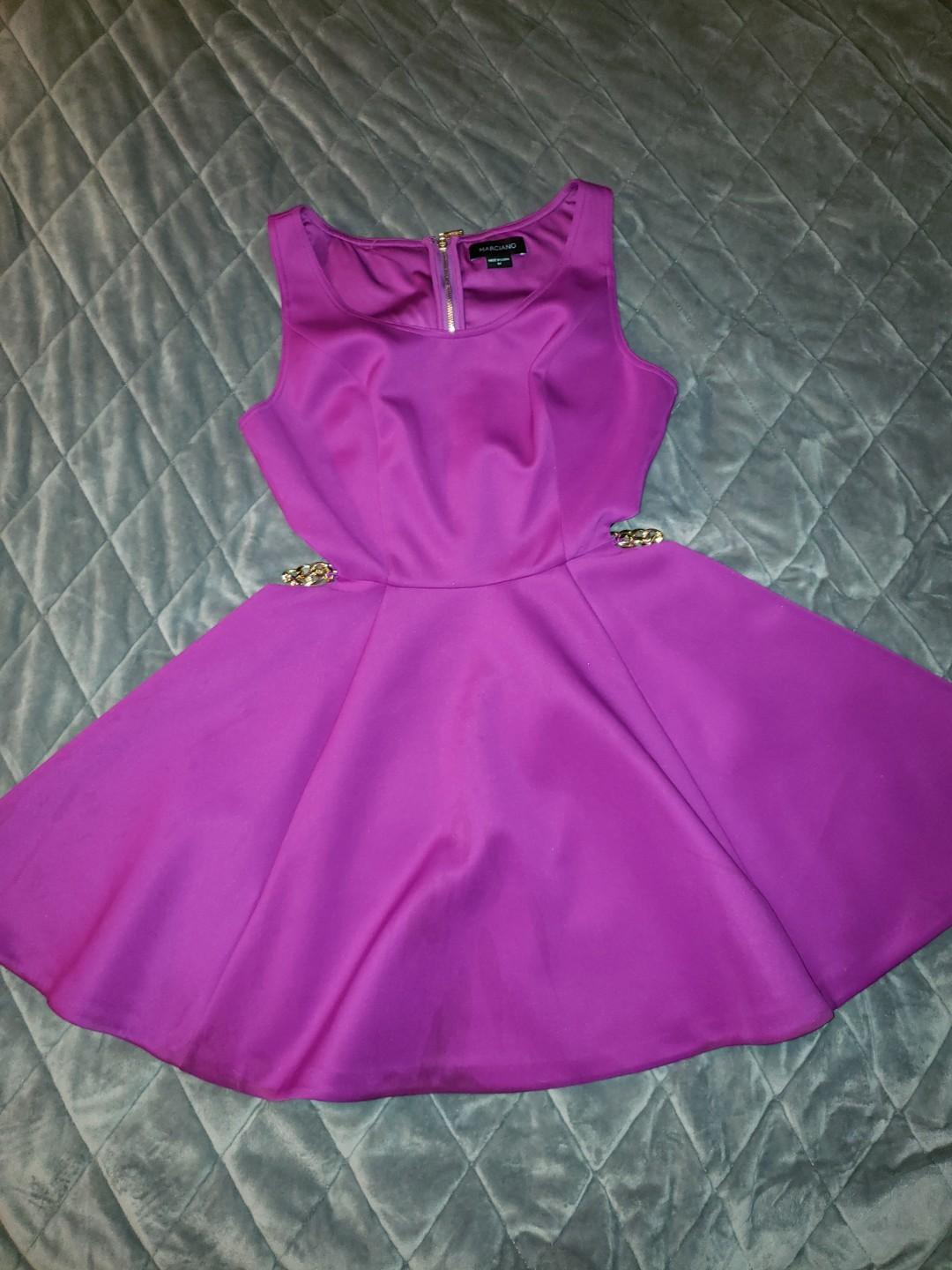 Purple Marciano Dress with side cut out and gold chain detail - size Medium