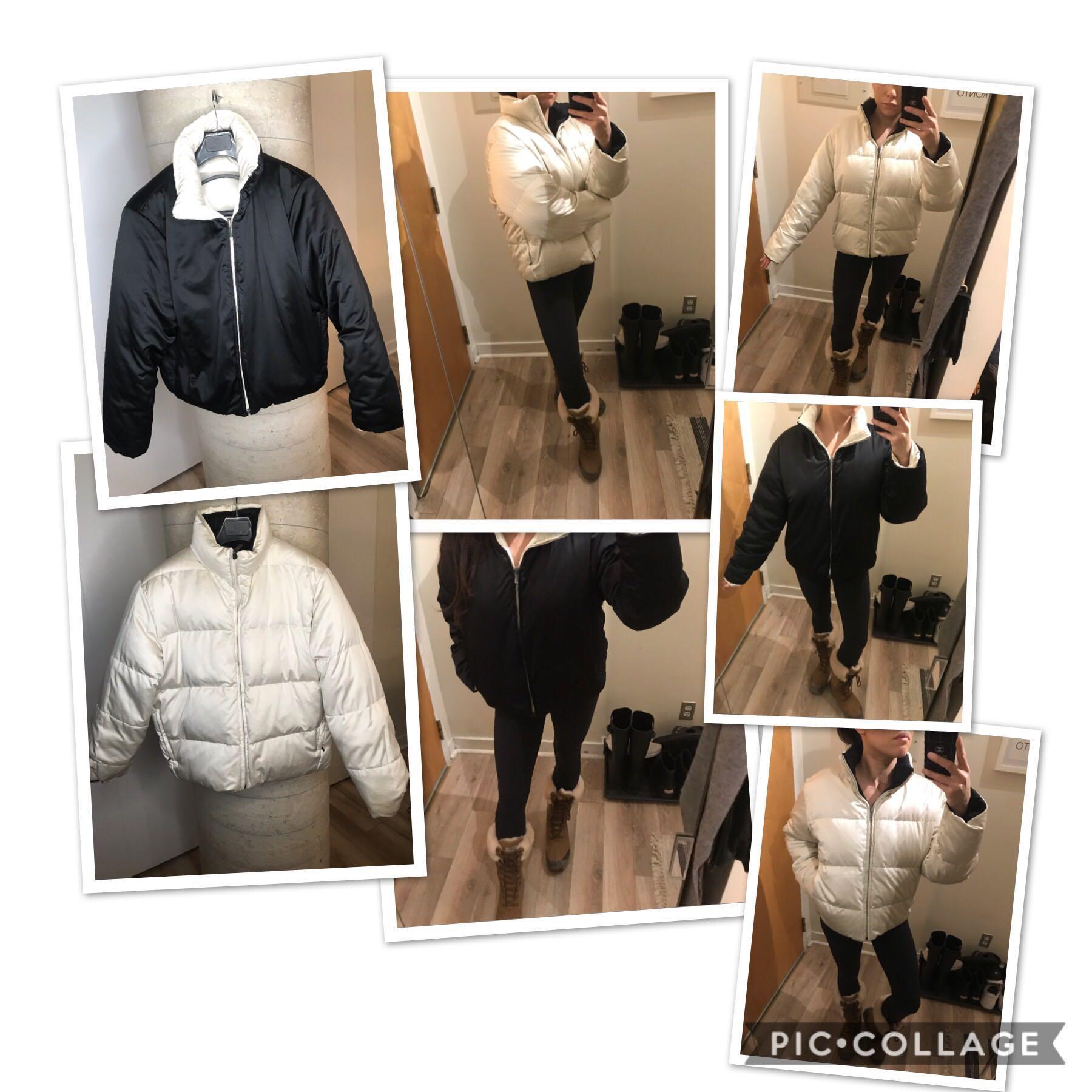 Ralph Lauren Down Filled Reversible Black & White Bomber Jacket