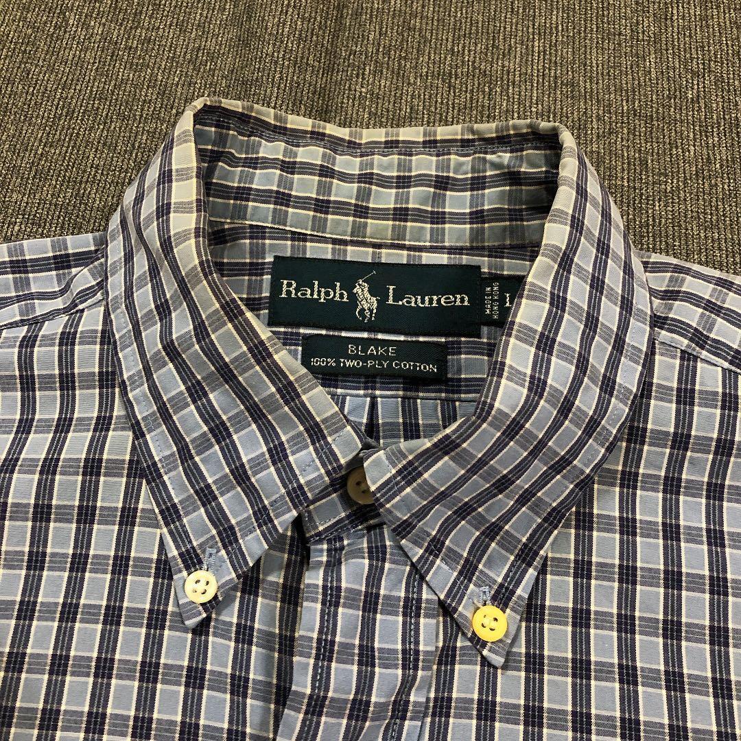 Ralph Lauren 古著淺藍格紋襯衫(L)