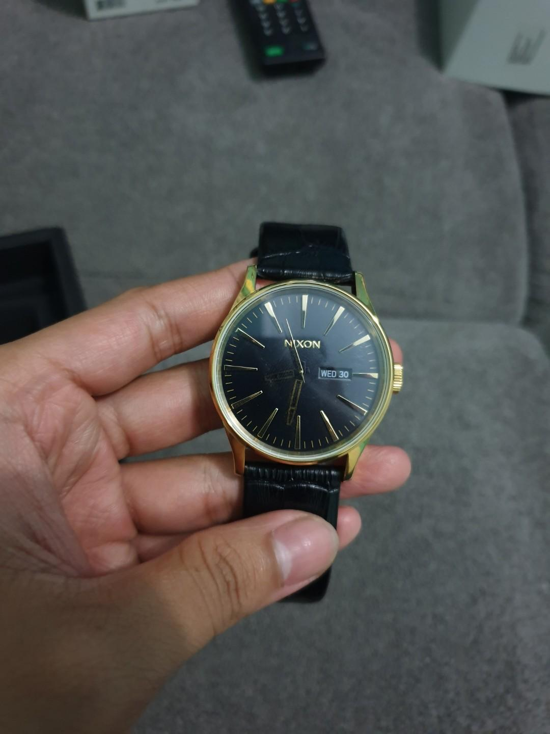 Restock, Nixon Sentry Gold Black Gator leather strap original murah BNIB