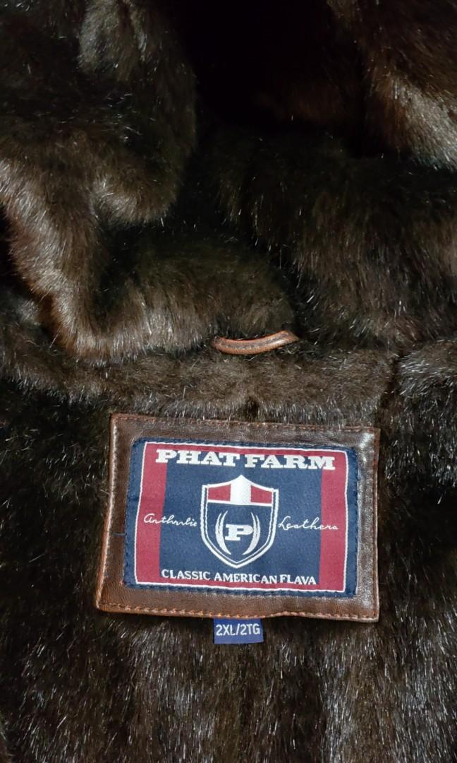 "RETRO NAME BRAND ""Phat Farm Leather Jacket with Fur Inner Lining"