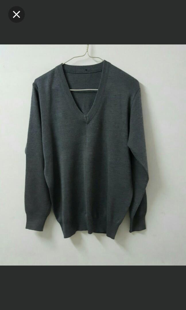 95%New school man winter grey sweater jacket
