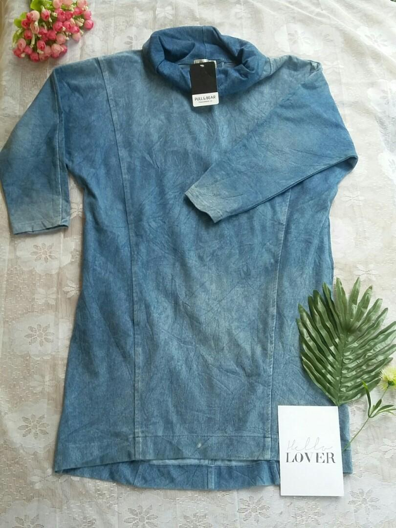 Tunik denim jeans long top turtleneck top freeongkir #promosidress