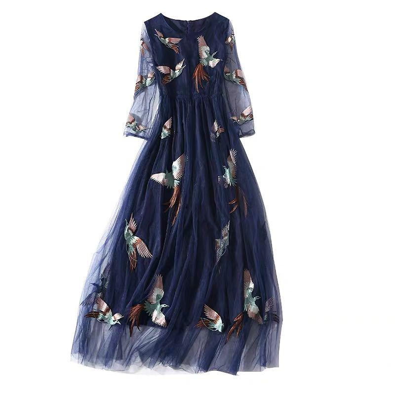 VLTN Valentino style delicate embroidered phenix evening dress navy veil