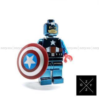 Lego Compatible Marvel Minifigures : Captain America (Chrome)