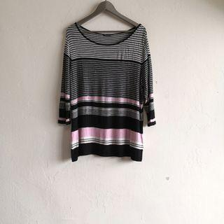 Stripes Pink Black 3/4 Sleeve Stretchable Top