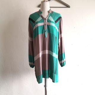 Green Brown Long Sleeve Loose Top