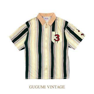 NO.101-復古直條紋拉鏈襯衫