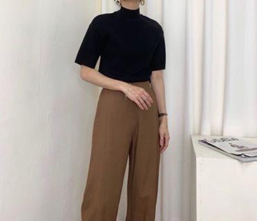 Tinana 📫 立領五分袖厚磅磨毛高磅數棉上衣 4色黑/可可/駝/紅