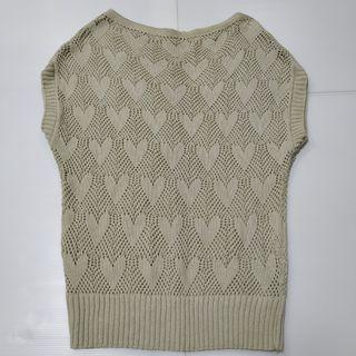 Knitted Sleeveless Top Beige Love shape length 63cm x 47cm