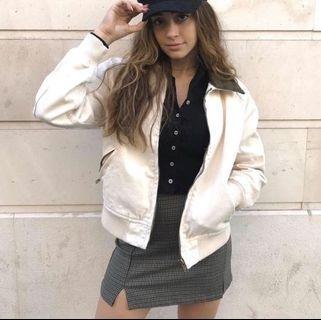 Brandy Melville 灰藍色格紋高腰短裙Cara skirt#剁手時尚