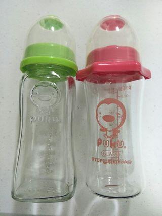兩支合售 PUKU 藍色企鵝 寬口奶瓶