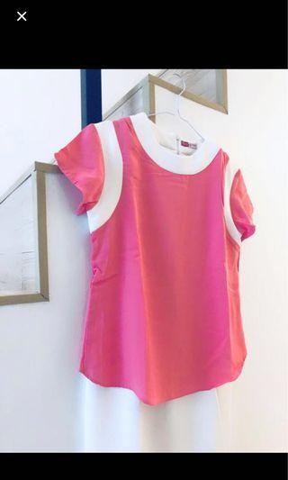Dress wanita pink office look new murah