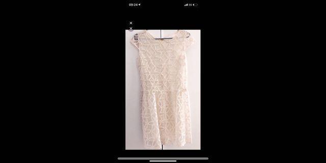 Dress party organza white cream organsa lace brukat 3d
