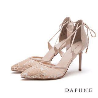 達芙妮交叉綁帶蕾絲尖頭鞋 25cm