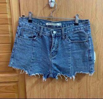 淺藍顯瘦牛仔短褲