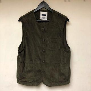 燈芯絨古著背心 墨綠色 vintage vest