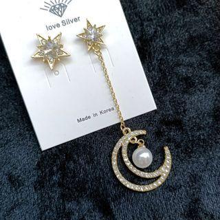(買5送1)歐美流行不對稱星星月亮耳環#剁手時尚