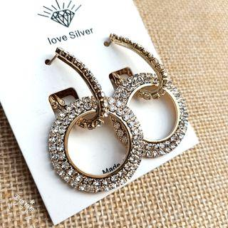 (買5送1)滿鑽圈圈兩戴式耳環#剁手時尚
