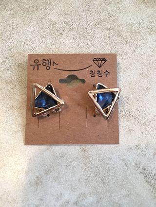寶藍色寶石耳針耳環貼耳耳環