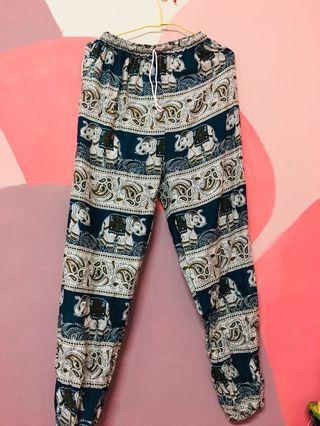泰國藍色圖騰長褲
