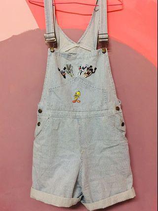 迪士尼華納刺繡藍白吊帶短褲