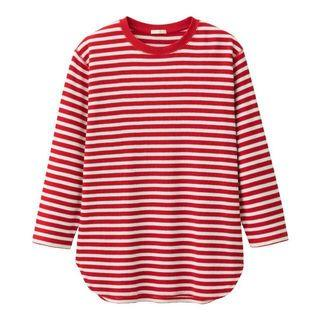 Uniqlo GU red and white stripped long sleeve waffled  top #1111