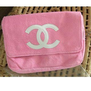 Ready stock: (Pink with White CC) Complimentary Chanel Velour Flannel Plush Sling bag