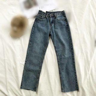 基本款 水洗藍 高腰 直筒 牛仔褲 下擺撕邊 jeans