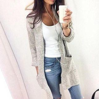 Light grey long knit sweater cardigan