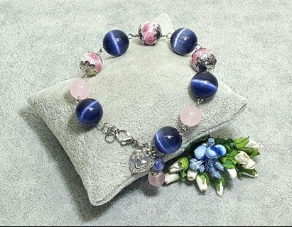 Blue Cat Eye Beaded Bracelet