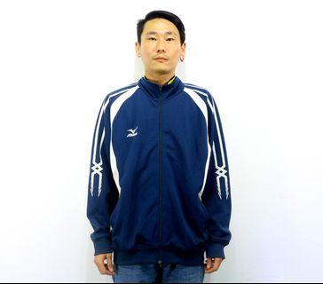「Mizuno 美津濃 深藍色 黃白色 高領 古著 風衣 外套 胸:57cm 長:70cm @舊到過去」