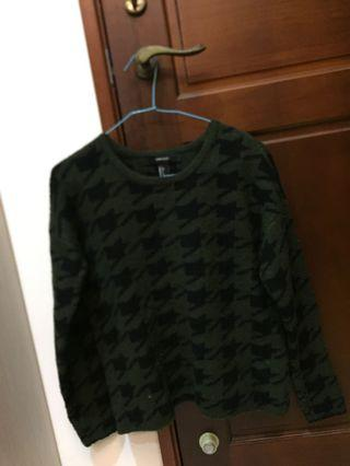 千鳥格紋墨綠針織保暖毛衣
