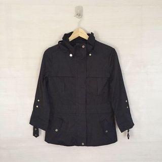 Jaket parasut parka hitam (3)