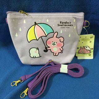 卡娜赫拉的小動物側背手機袋 為你遮雨款-粉紫色觸控手機包
