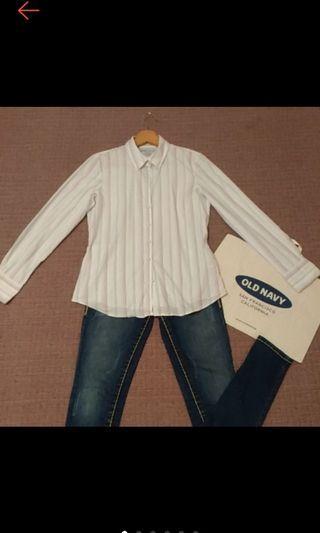 美國帶回  OLD NAVY 女 白底 紫條藍條 合身條紋襯衫長袖襯衫 九成新