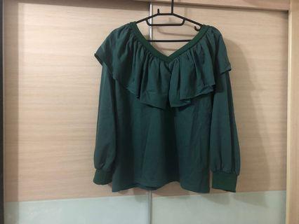 ➕全新➕綠色荷葉領中厚棉上衣