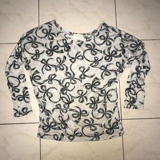 蝴蝶結圖案七分袖上衣 #剁手時尚