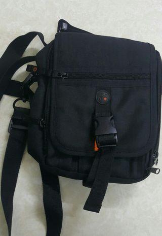 ECGO韓國品牌帆布腰包斜側背包多用途證件包19X15X7cm背帶總長125cm