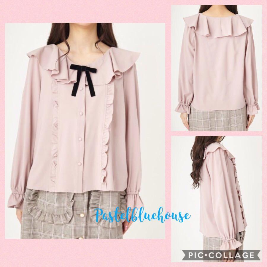 2ways🎀🎀日系Ank蝴蝶結荷葉花邊領雪紡恤衫上衣 Japan ruffle collar frilly blouse removable front bow top pink top white top