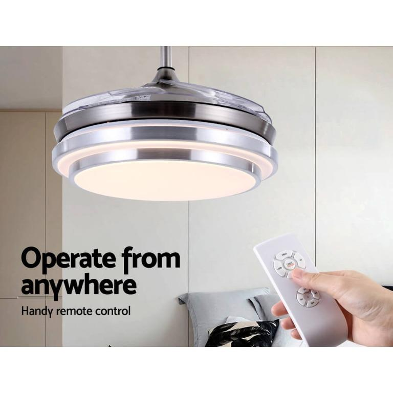 42″ Ceiling Fan Lamp LED Light Retractable Blade Ceiling Fan with Remote